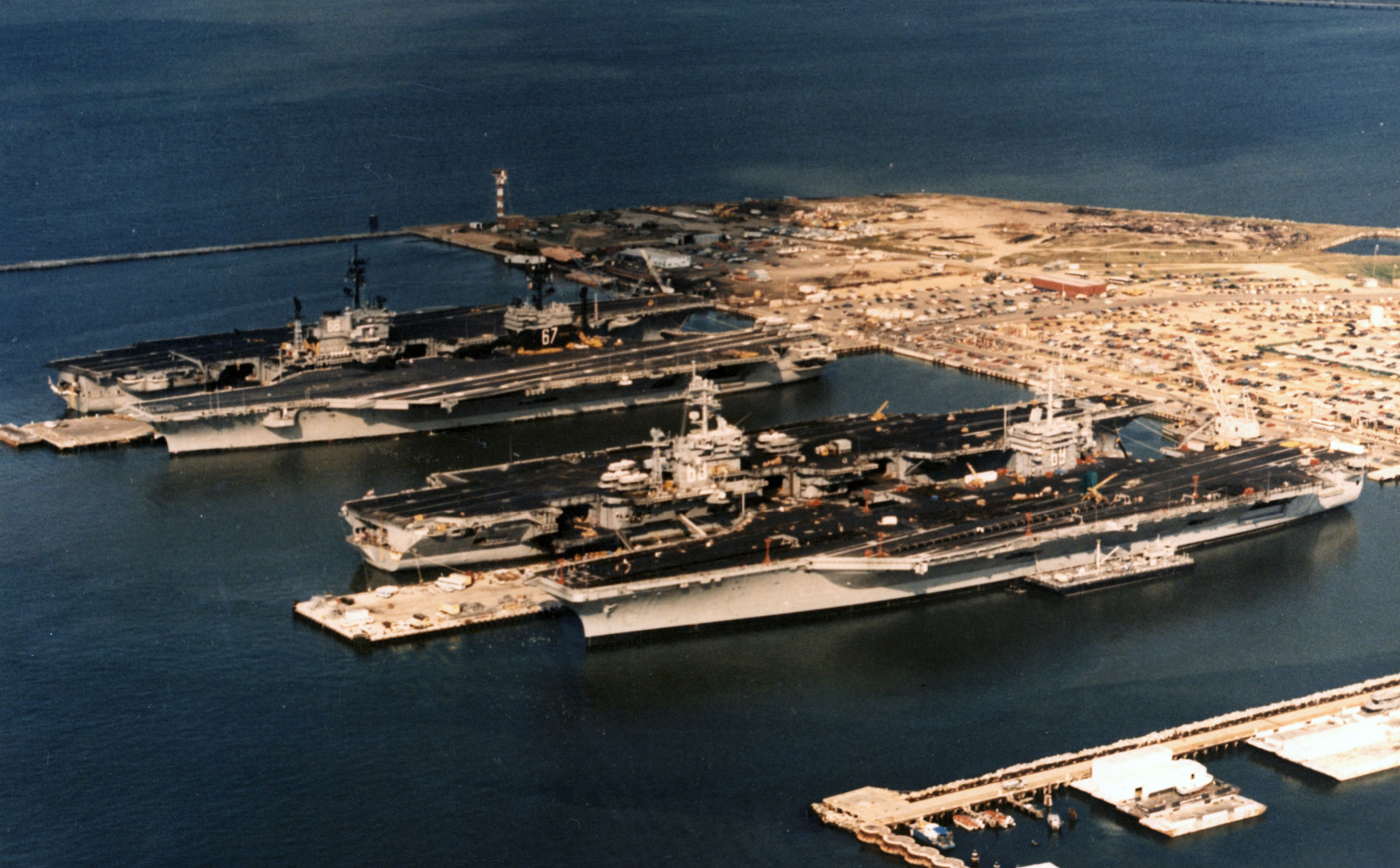 Four US Navy carriers at Norfolk Naval Station 1985