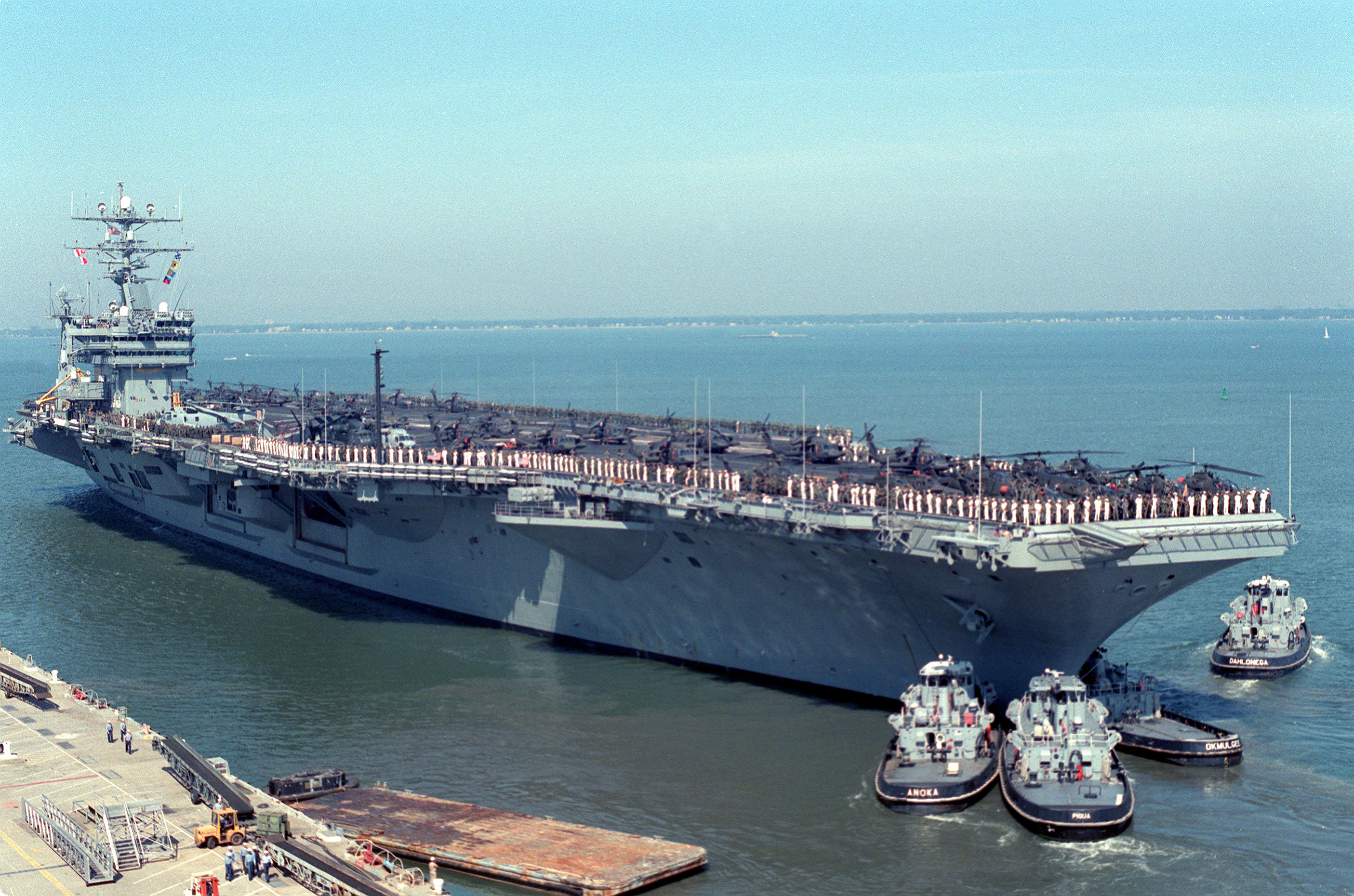 USS Eisenhower CVN 69 leaves Norfolk for Operation Uphold Democracy in 1994