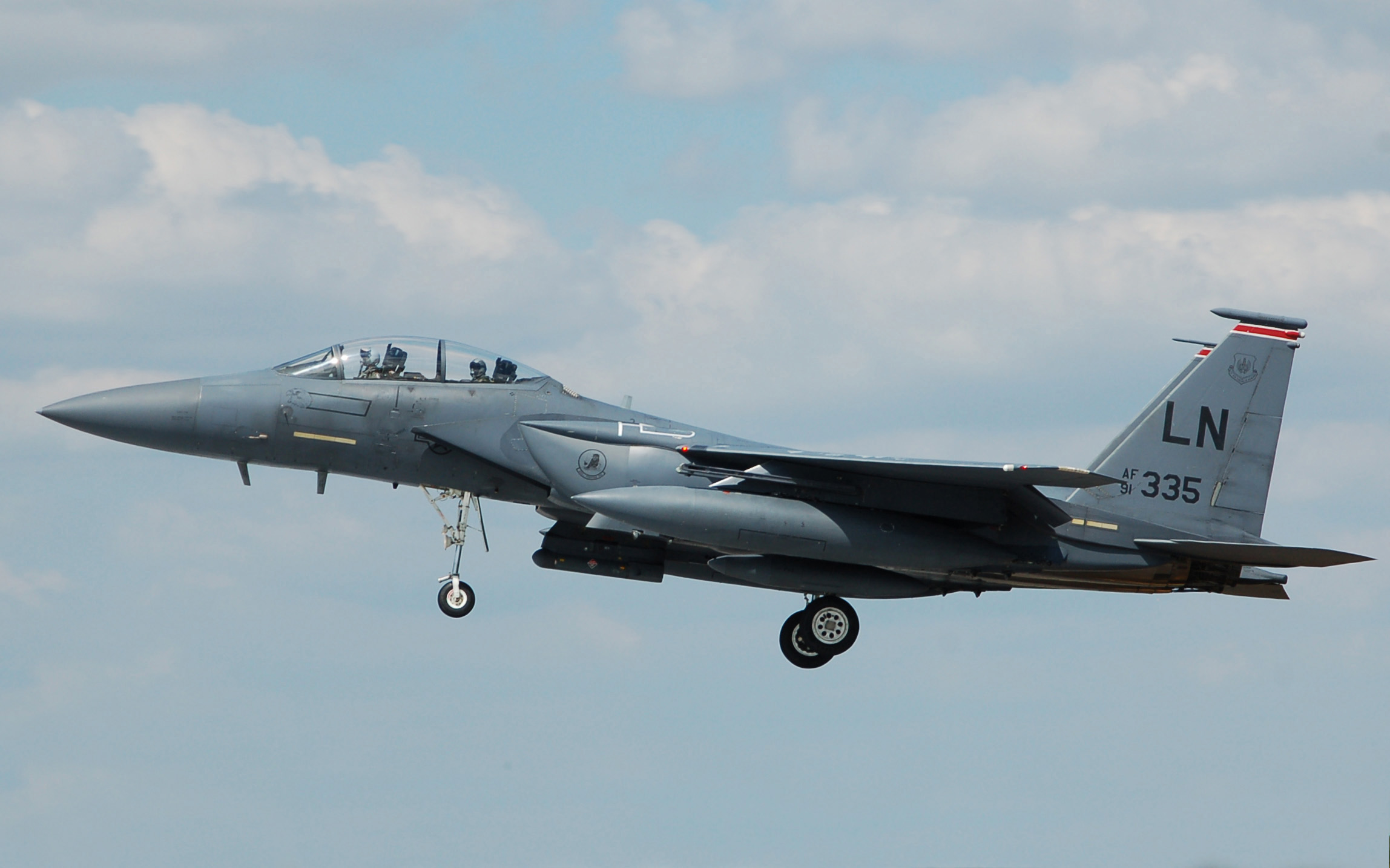 McDonnell Douglas F 15 arrives RIAT Fairford 10thJuly2014 arp
