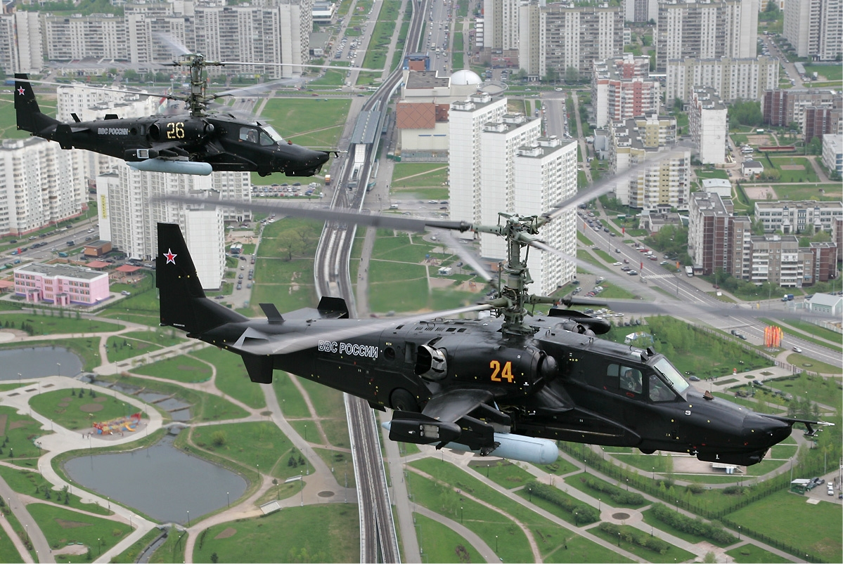 Ka 50 helicopters over Moscow