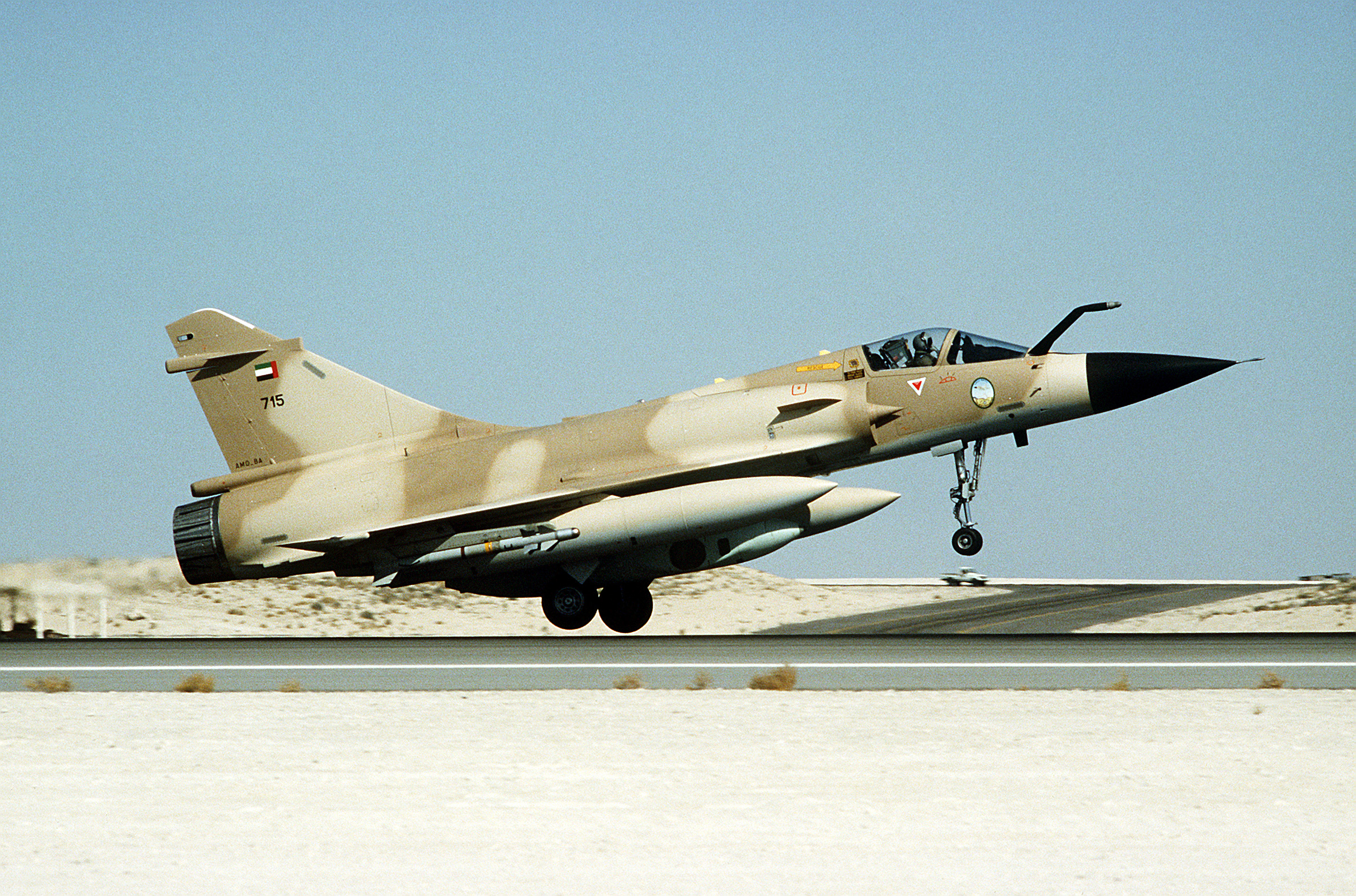 A Kuwaiti Mirage 2000C fighter aircraft during Operation Desert Storm
