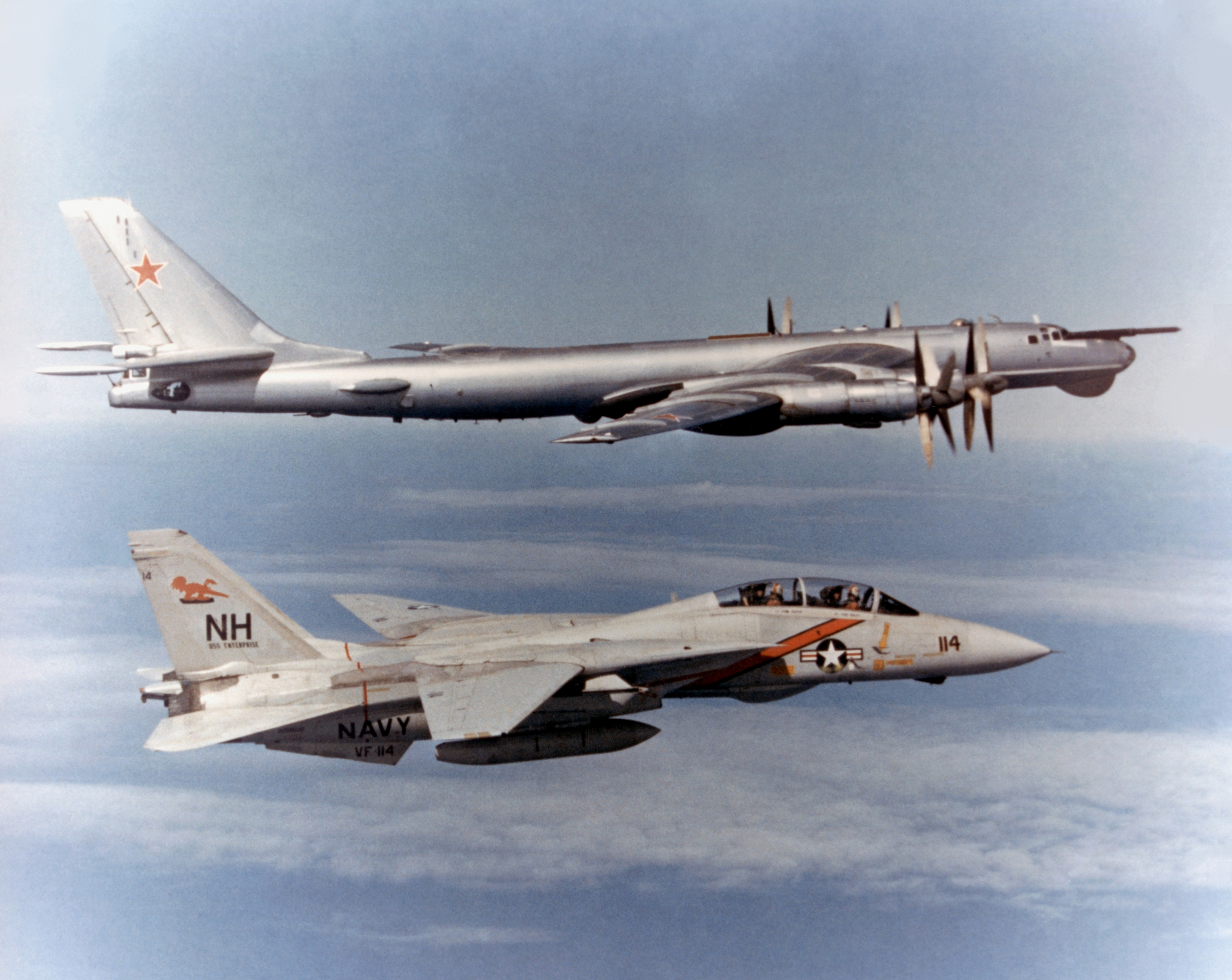 F 14 Tomcat VF 114 escorting TU 95 Bear