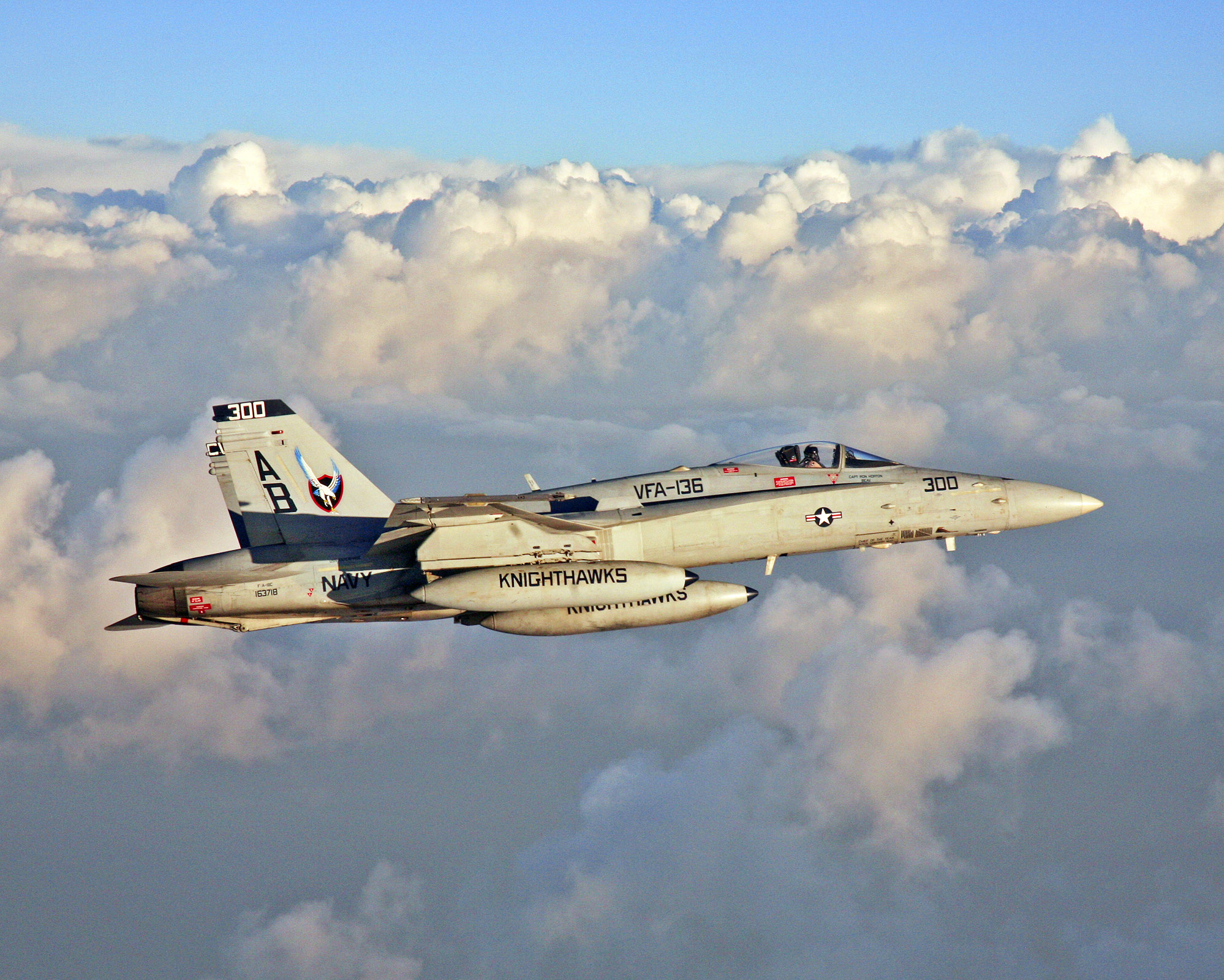 F A 18C Hornet Knighthawks of Strike Fighter Squadron VFA 136 flies over the Mediterranean Sea