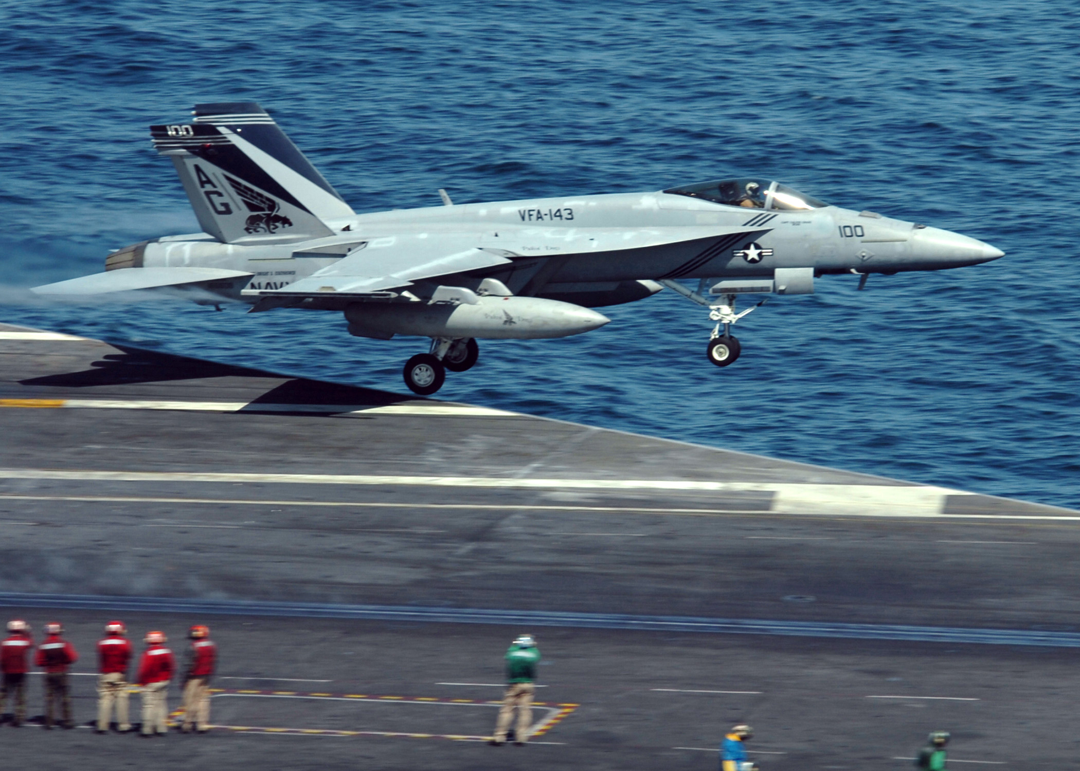 US Navy 070522 N 8907D 003 An F A 18E Super Hornet from the Pukin Dogs of Strike Fighter Squadron VFA 143 launches from the flight deck of the Nimitz class aircraft carrier USS Dwight D. Eisenhower CVN 69