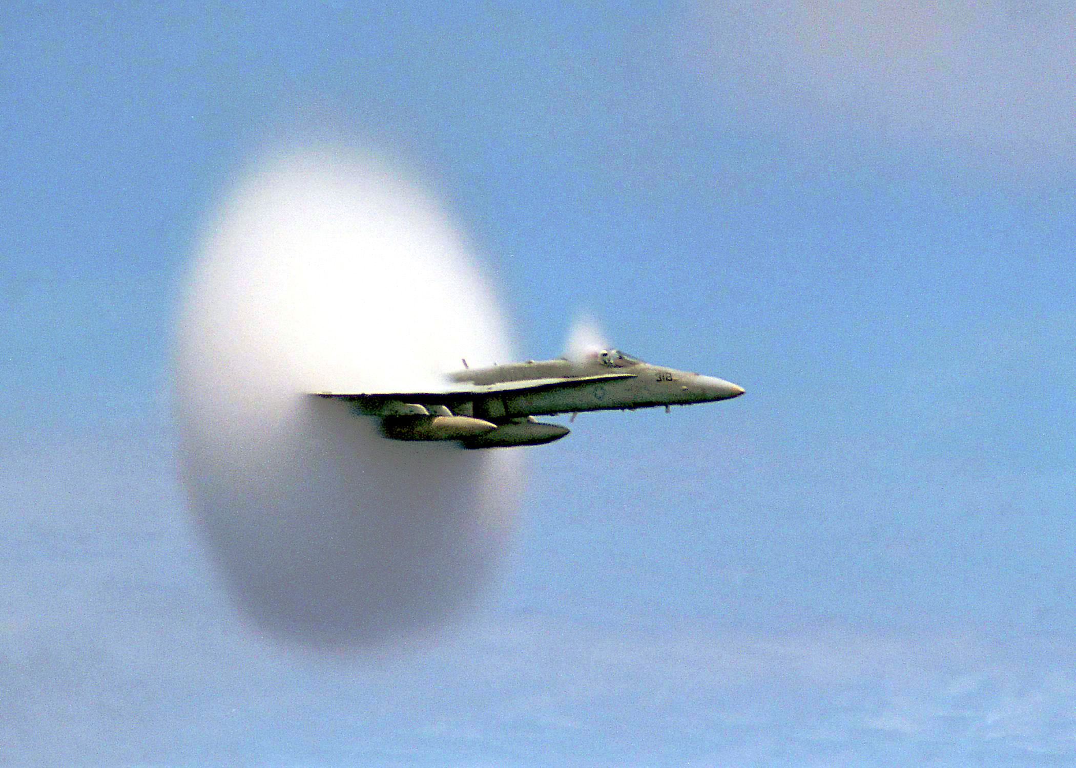 FA 18 Hornet breaking sound barrier 7 July 1999